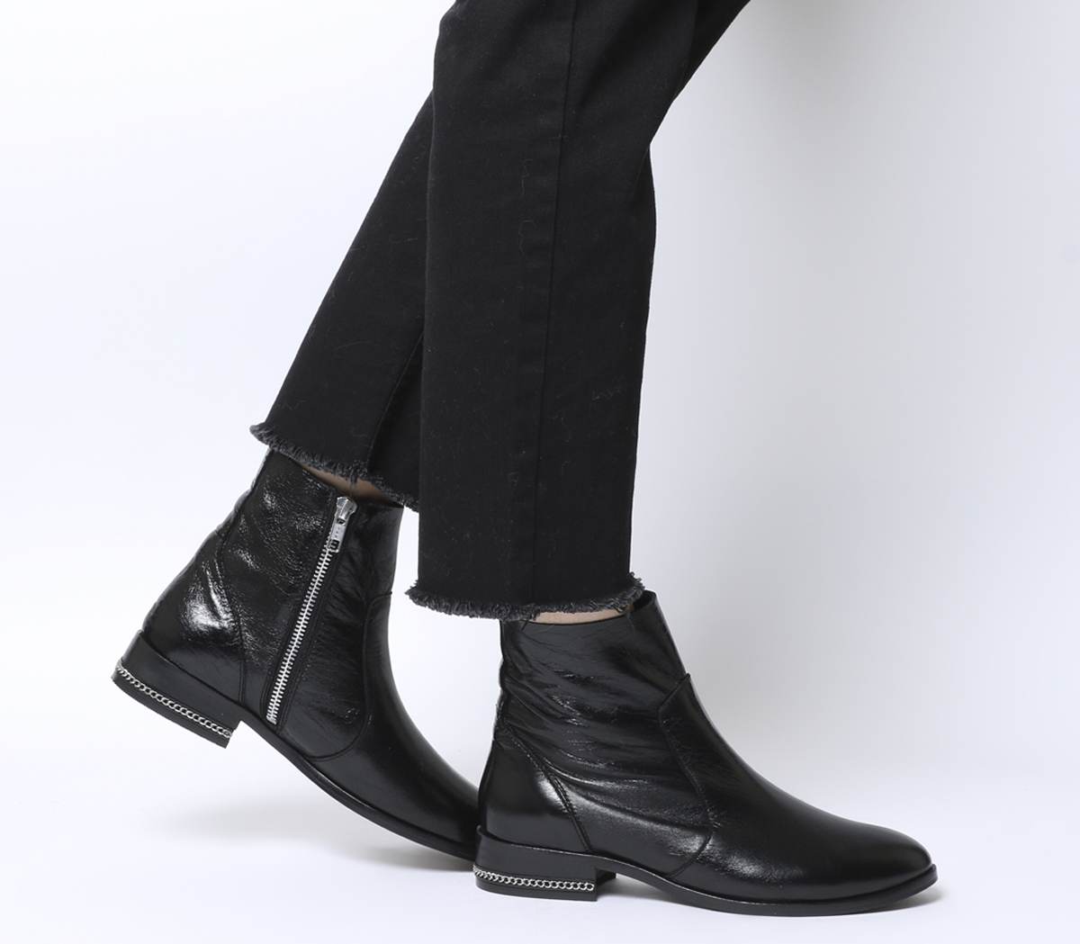 8b0dd21aacbc Sentinel Womens Office Ashleigh Flat Ankle Boots Black Leather With Chain  Boots