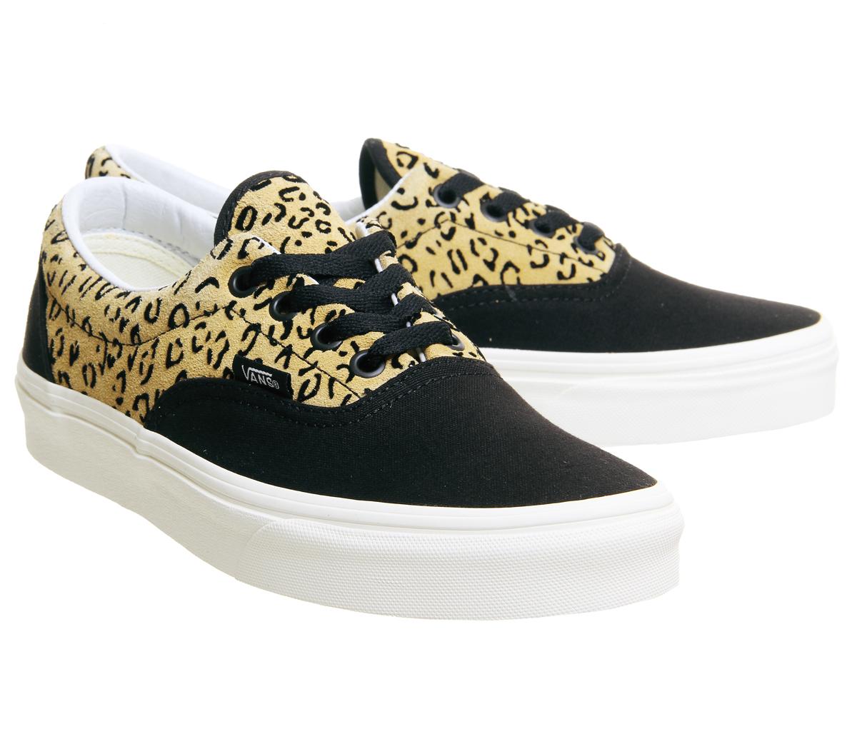 Mens Vans Era Trainers LEOPARD BLACK TAFFY MARSHMELLOW EXCLUSIVE Trainers Schuhes