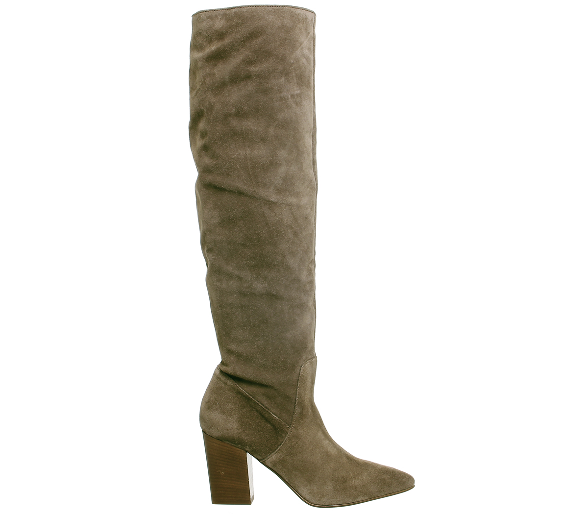 Womens Office Kola Slouch Suede Knee Boots Taupe