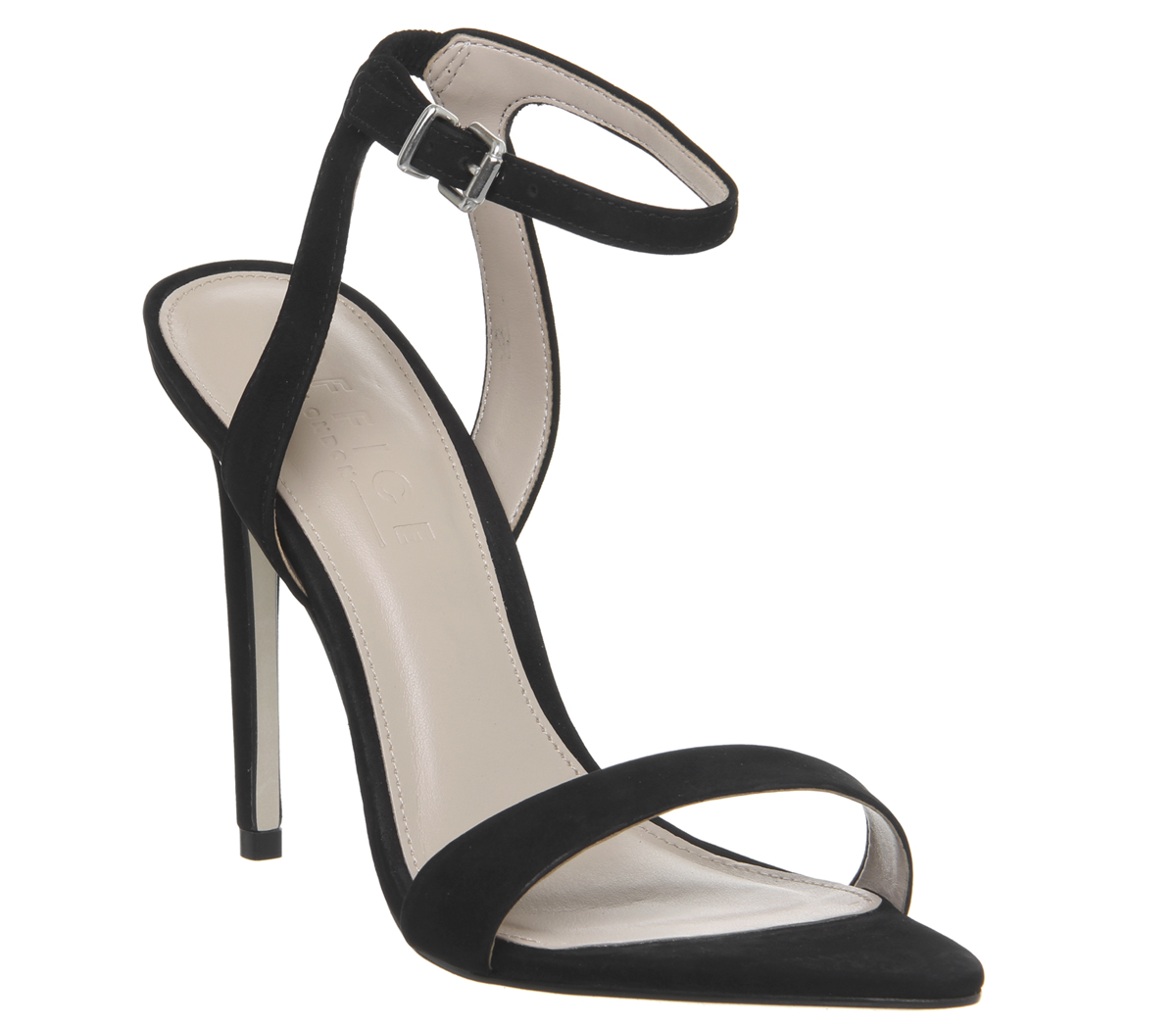 ad11e9b9cd7 Womens Office Hemlock Two Part Pointed Sandal Heels Black Nubuck Heels