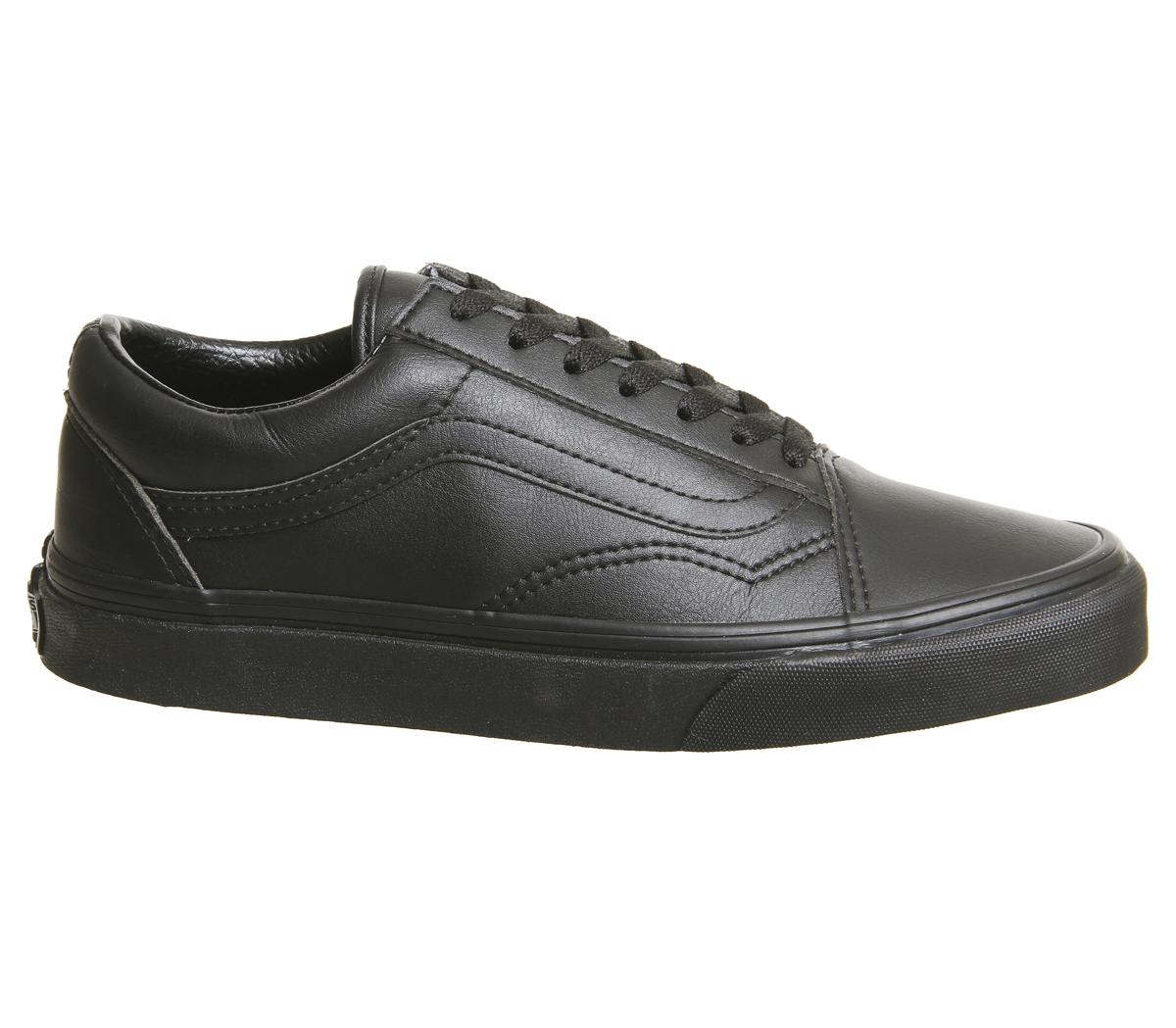 Sentinel Mens Vans Old Skool Trainers BLACK BLACK MONO LEATHER Trainers  Shoes 1d08c279fb6