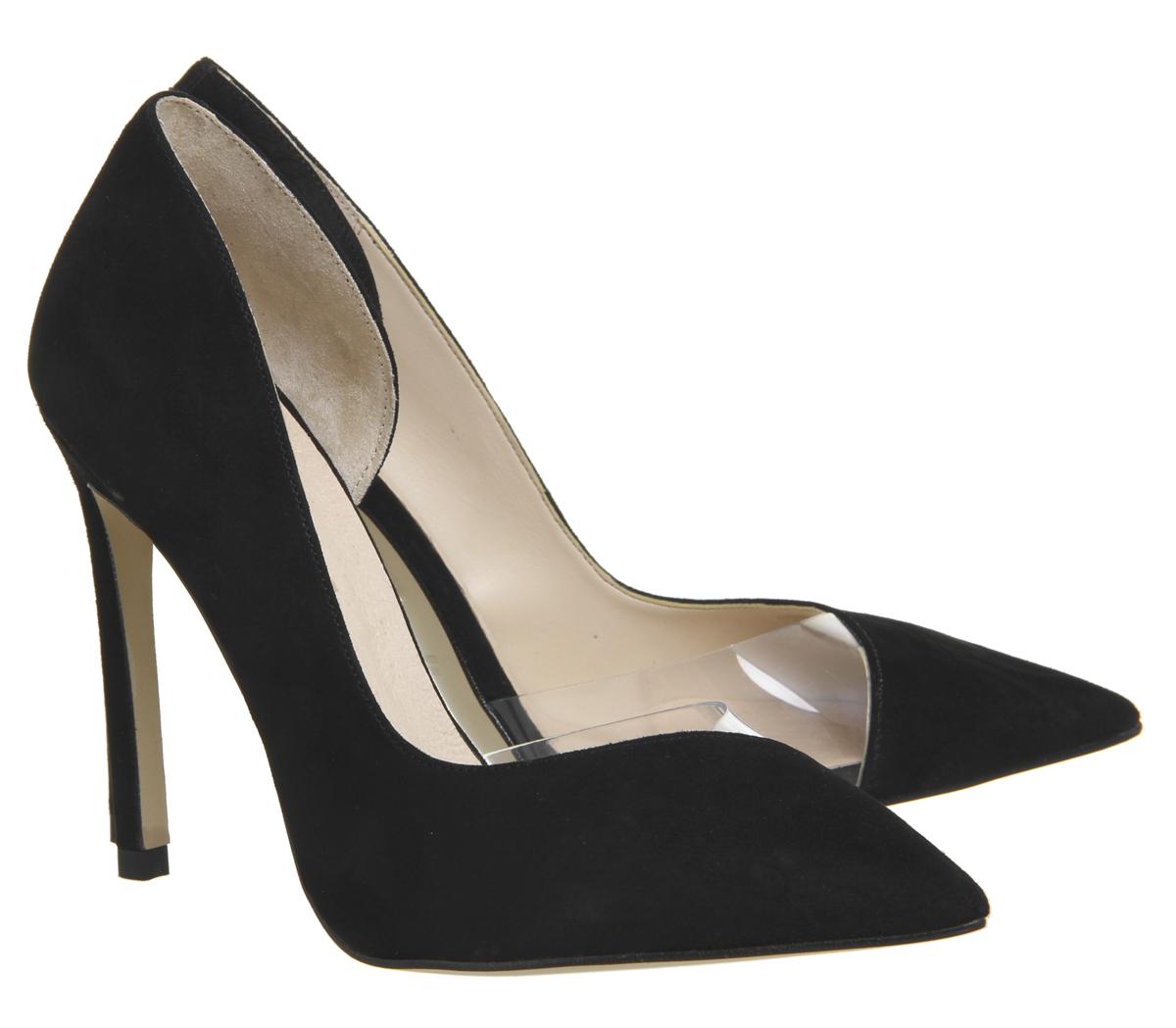Scarpe punta da donna da in ufficio nera scamosciata acciocchiata con pelle wqxAaRwfF