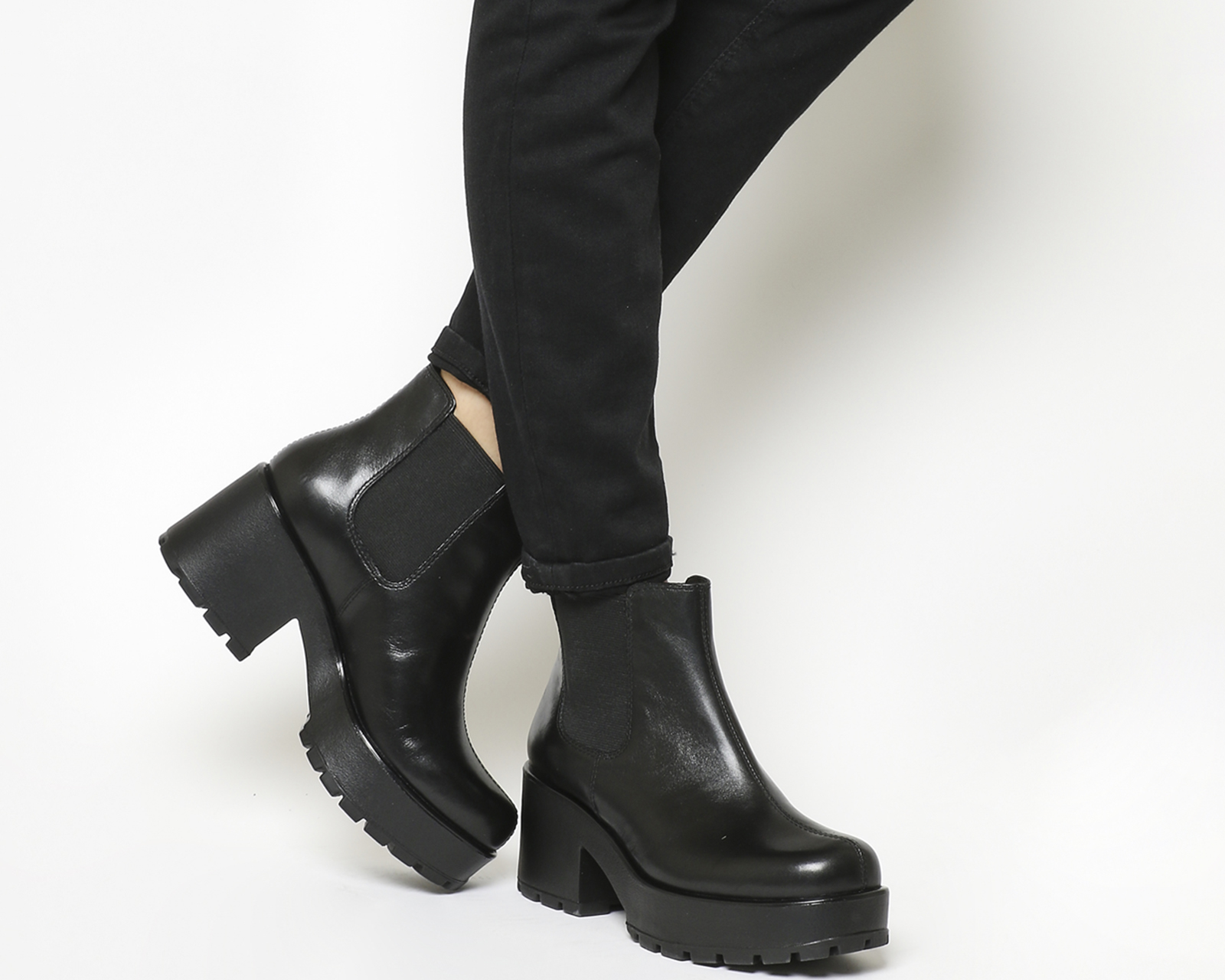 f859c21283 Details about Womens Vagabond Dioon Elastic Chelsea Boots Exclusive Black  Leather Boots