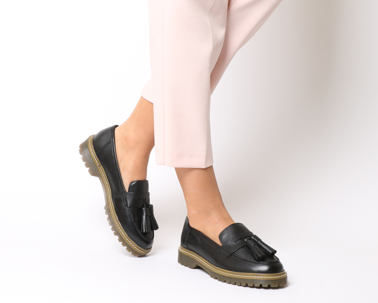 Sentinel Womens Office Foundation Update Chunky Loafers BLACK LEATHER Womens