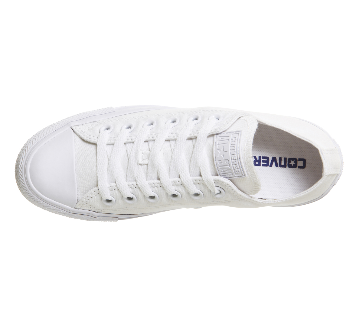 Mens Converse All WHITE Star Low WHITE All MONO CANVAS Trainers Shoes d15417