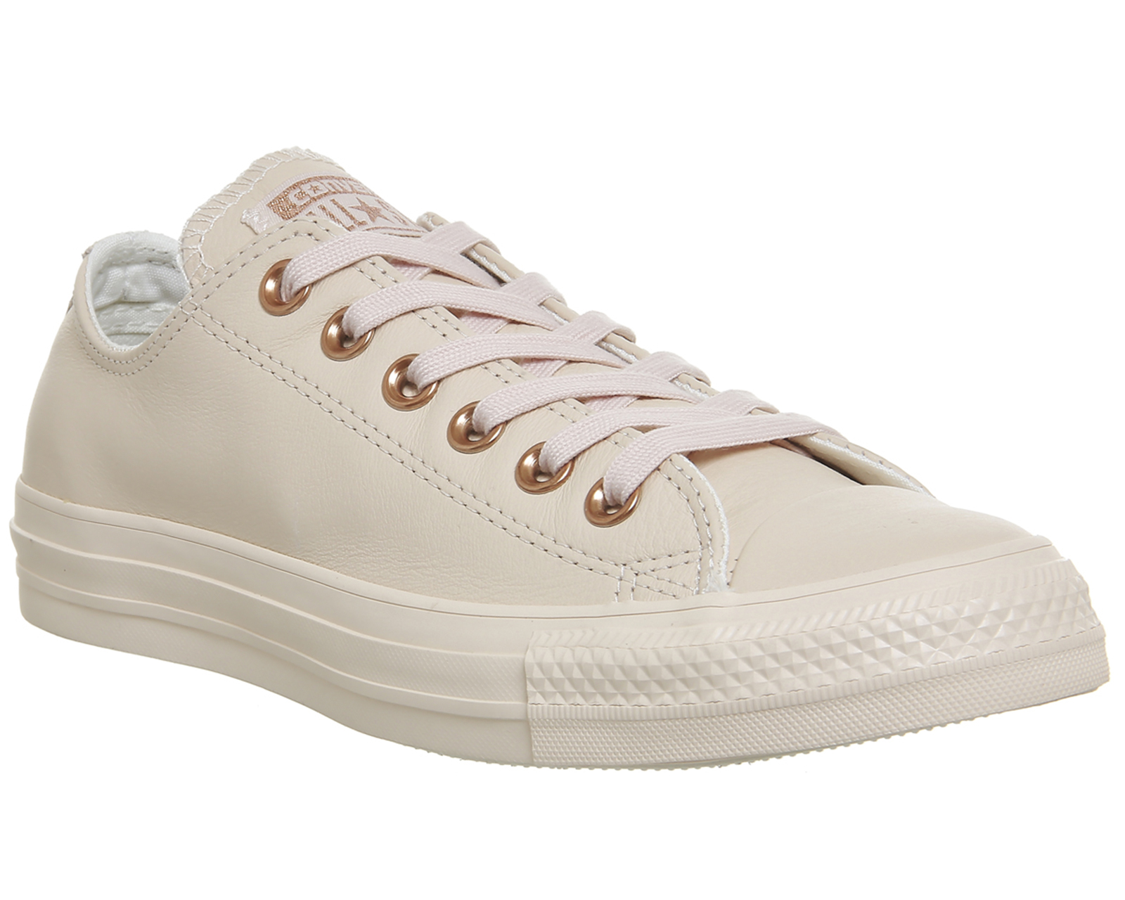 0f8e267fd87f Sentinel Womens Converse All Star Low Leather Pastel Rose Tan Rose Gold  Trainers Shoes