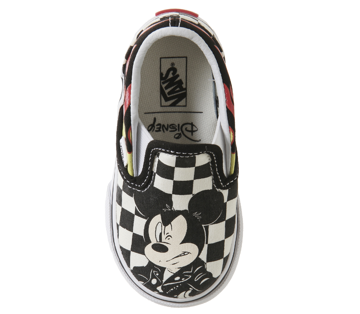 d4fe665e7a Kids Vans Classic Slip On Toddlers Mickey And Minnie Checker Flame ...