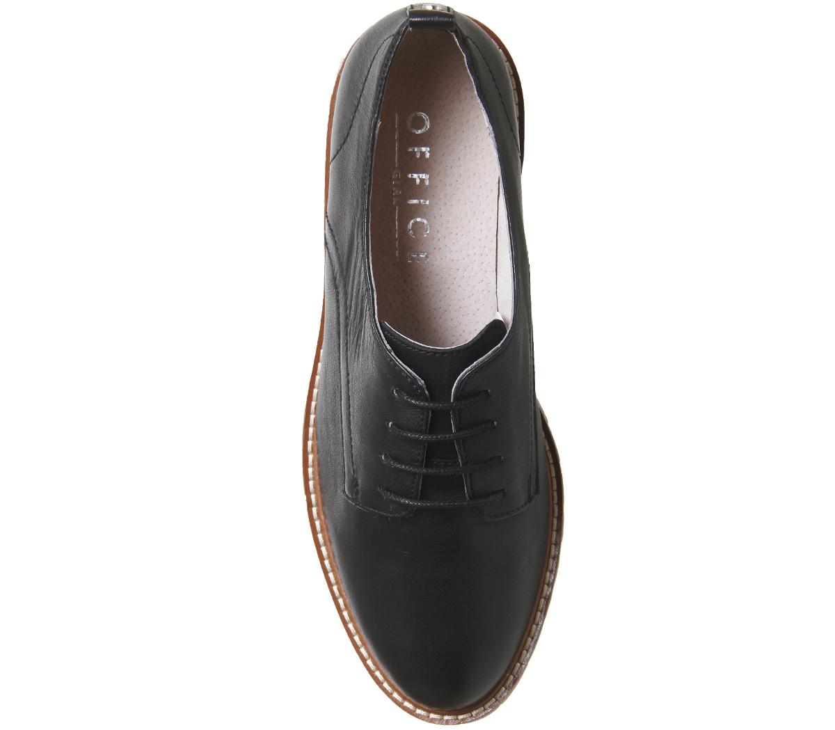 Goma Cuero Con Cordones Mujer Suela Office De Zapatos Negro Kennedy gwAUz