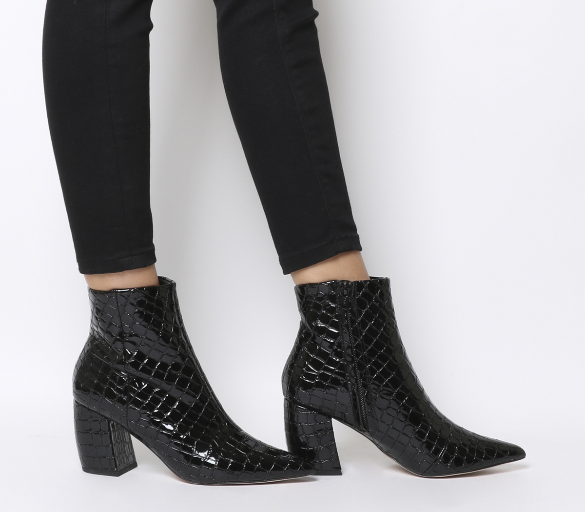 Croc Patent Stivali donna Heel Boots Aloud da Block Point Black wRHAq