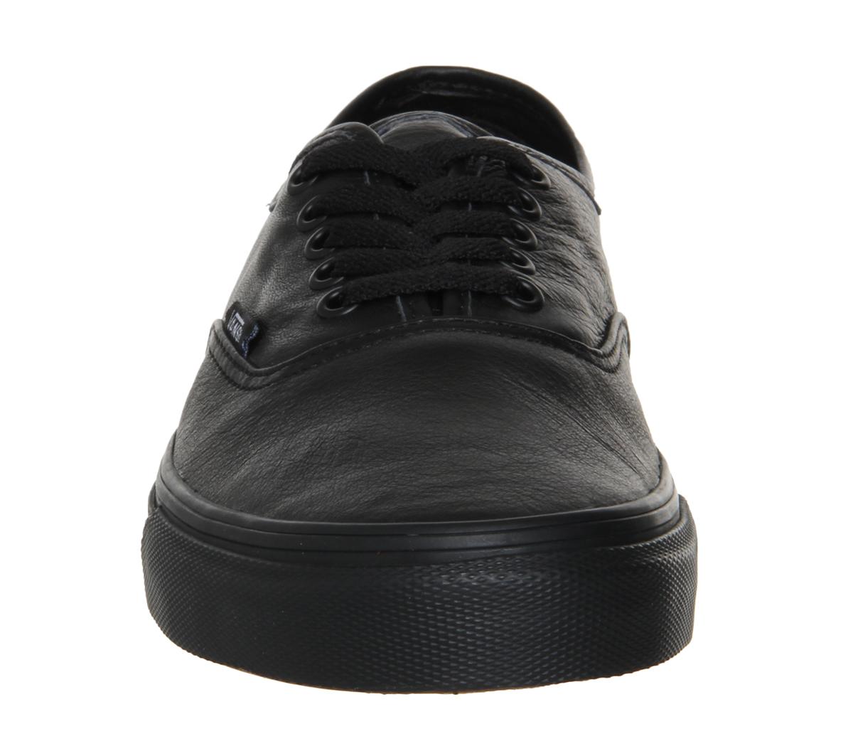 Details about Mens Vans Authentic Leather Black Mono Trainers Shoes feeb28b8b