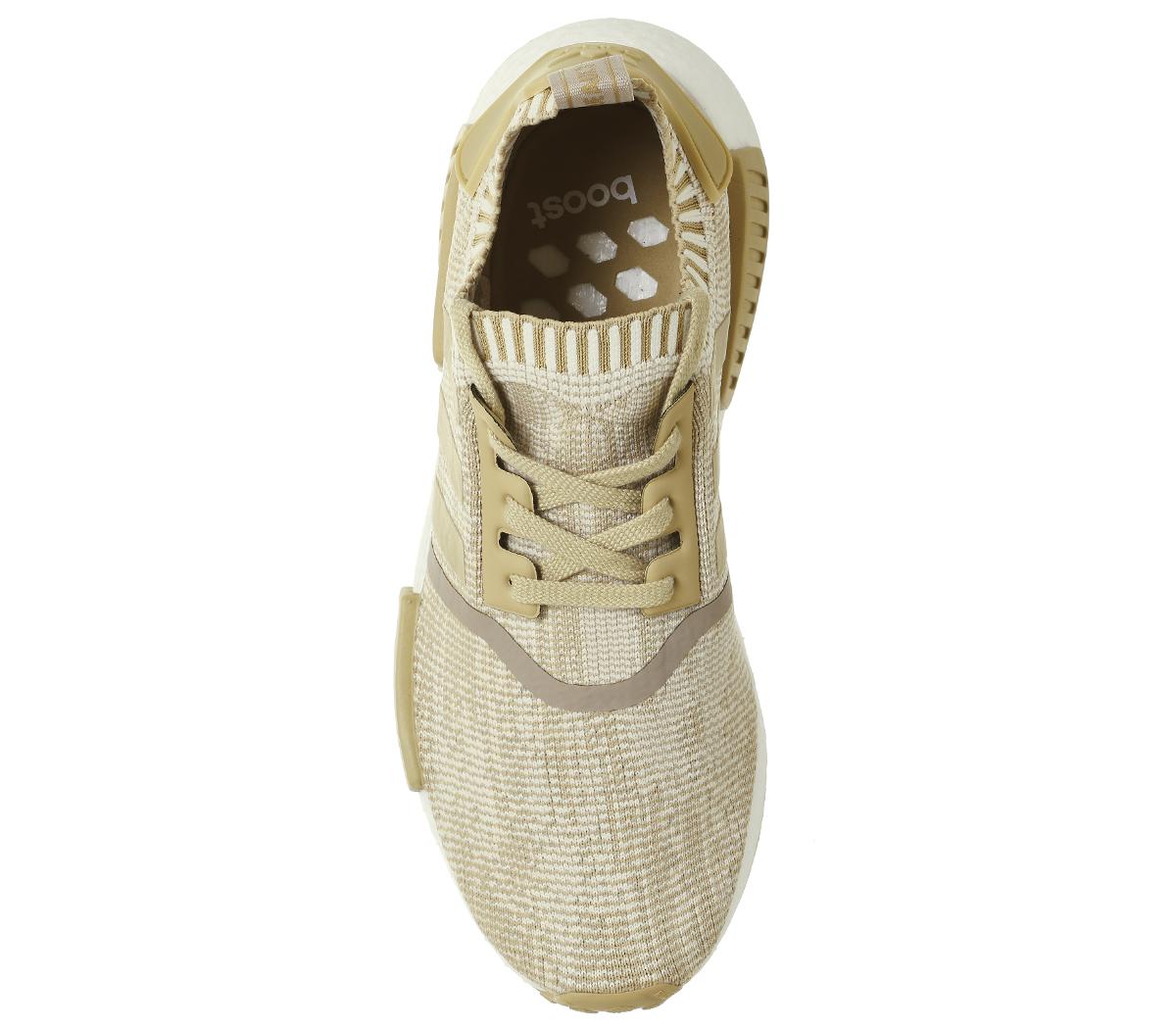 Adidas-Nmd-R1-in-Maglia-Di-Lino-Cachi-Prime-Off-Scarpe-Da-Ginnastica-Bianco