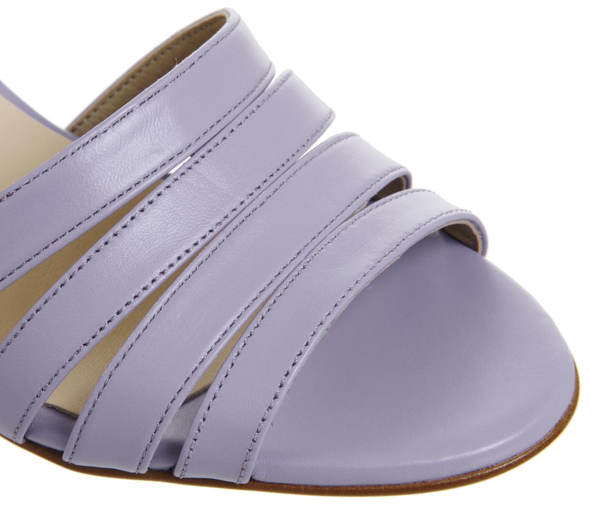 baa4ce355849 Womens Office Myla Strappy Mid Block Heels Lilac Leather Heels