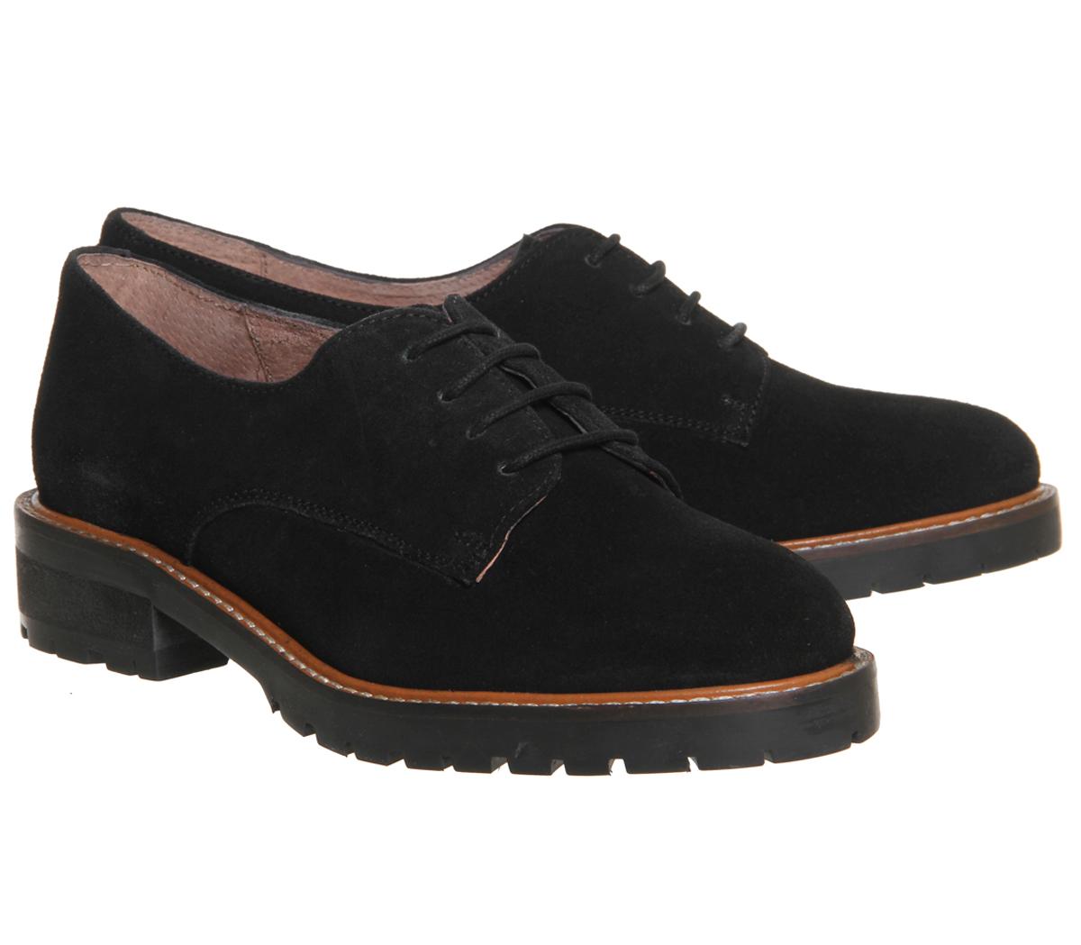 Damenschuhe SUEDE Office Kennedy Lace up Schuhes BLACK SUEDE Damenschuhe Flats 3a4672