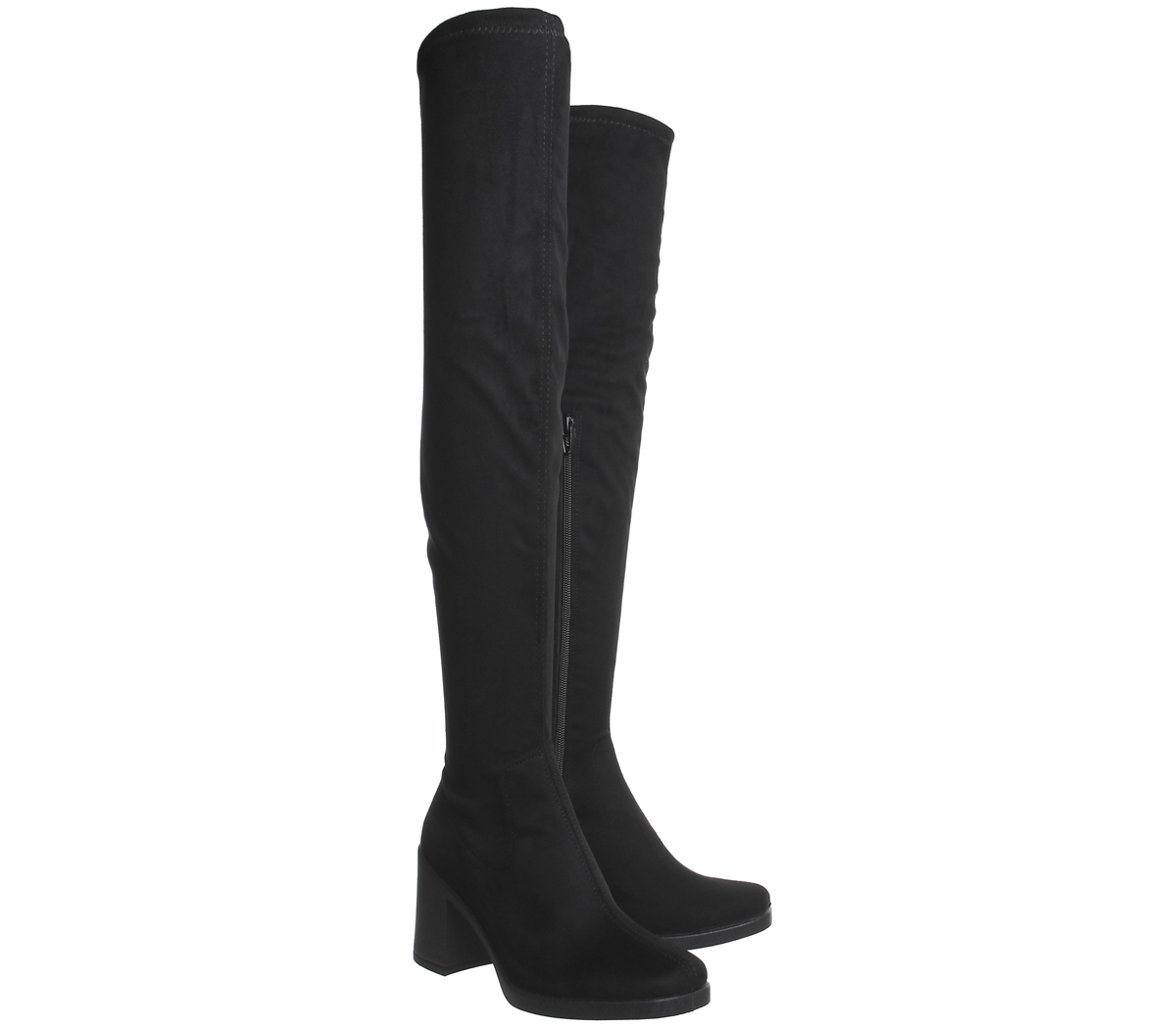 Womens Office Kickback Over The Knee Boots Black