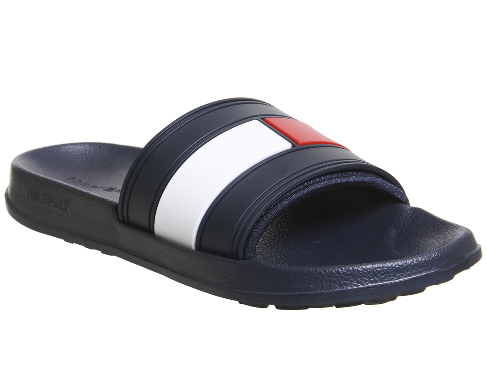 Womens Tommy Hilfiger Flag Pool Slides NAVY RED WHITE Sandals