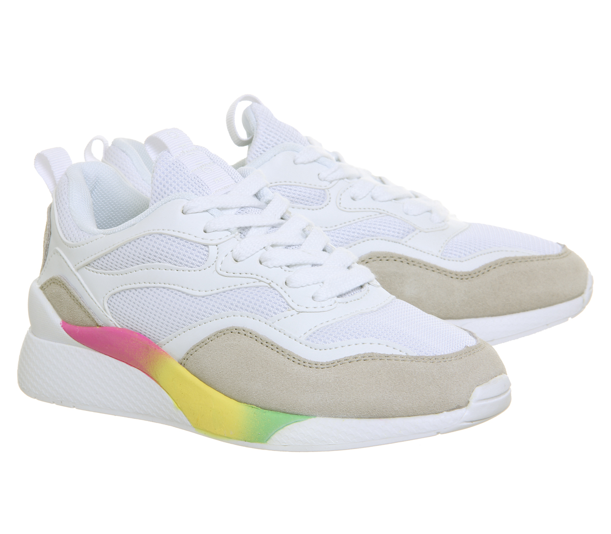 dabde94a6fea2 Womens Office Fife Chunky Lace Up Trainers WHITE WITH RAINBOW SOLE ...