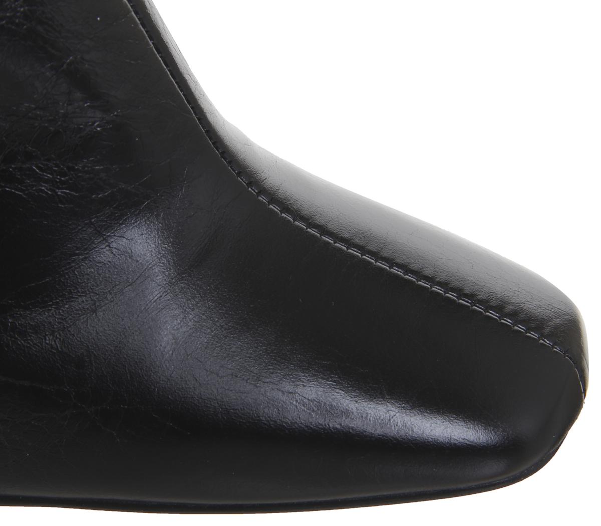 Detalles de Mujer Office Todos Derecho Tacón en Bloque Botas Cuero Negro Efecto Madera de