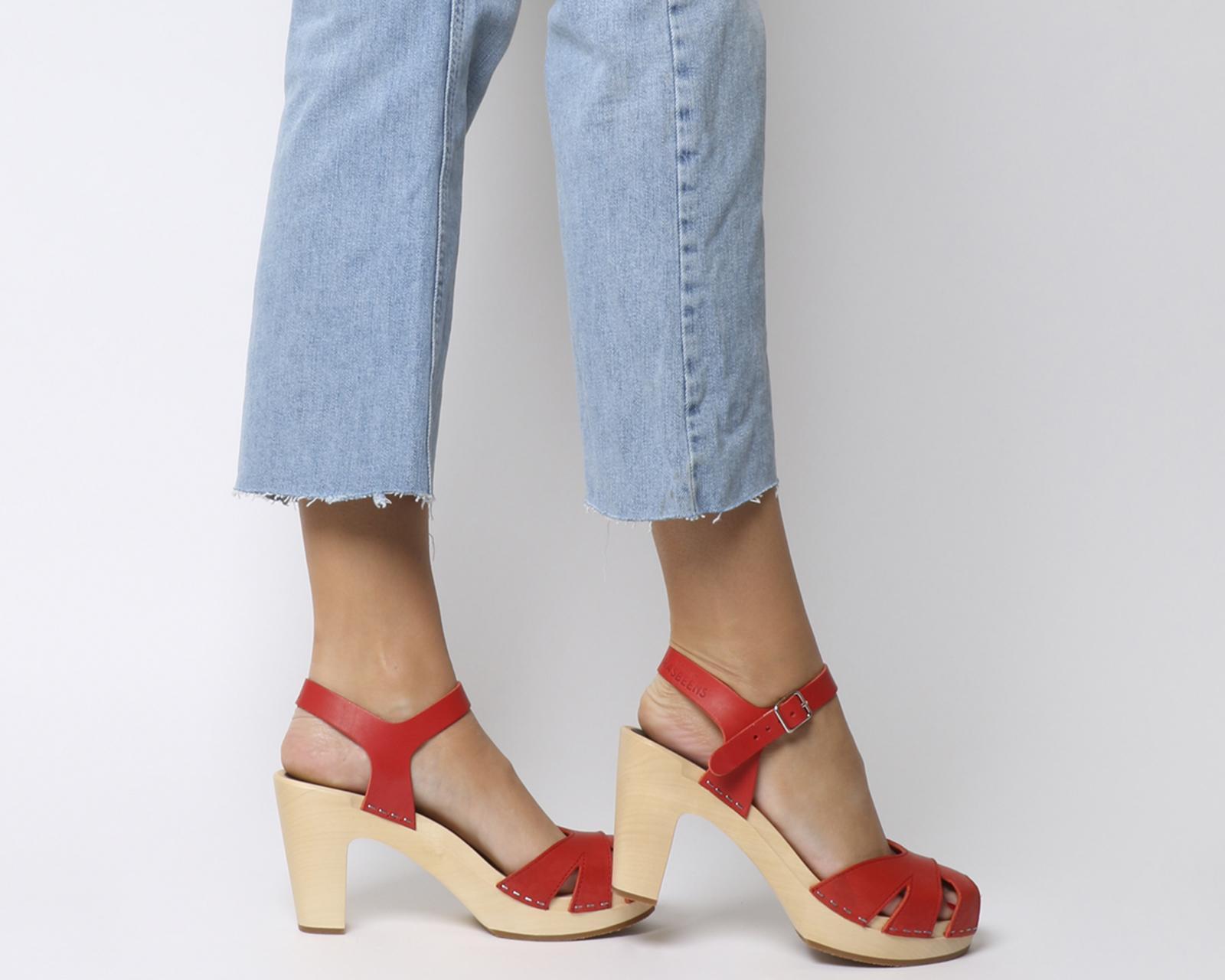 Sentinel Womens Swedish Hasbeens Suzanne Hi Peep Toe Sandals Red Sandals 07e5bc196