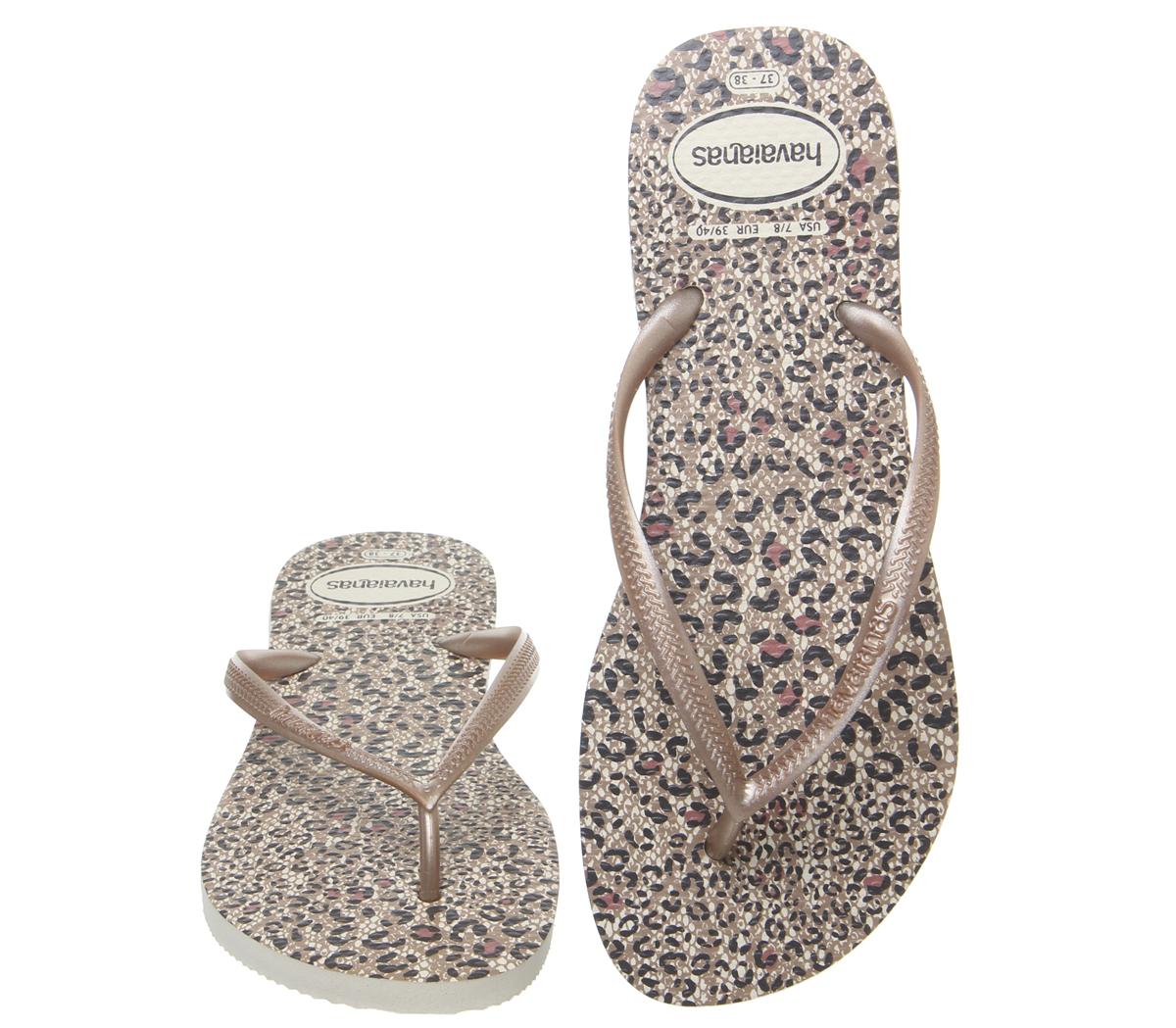 7d5fb416e026 Womens Havaianas Slim Animals Flip Flops Beige Rose Gold Sandals