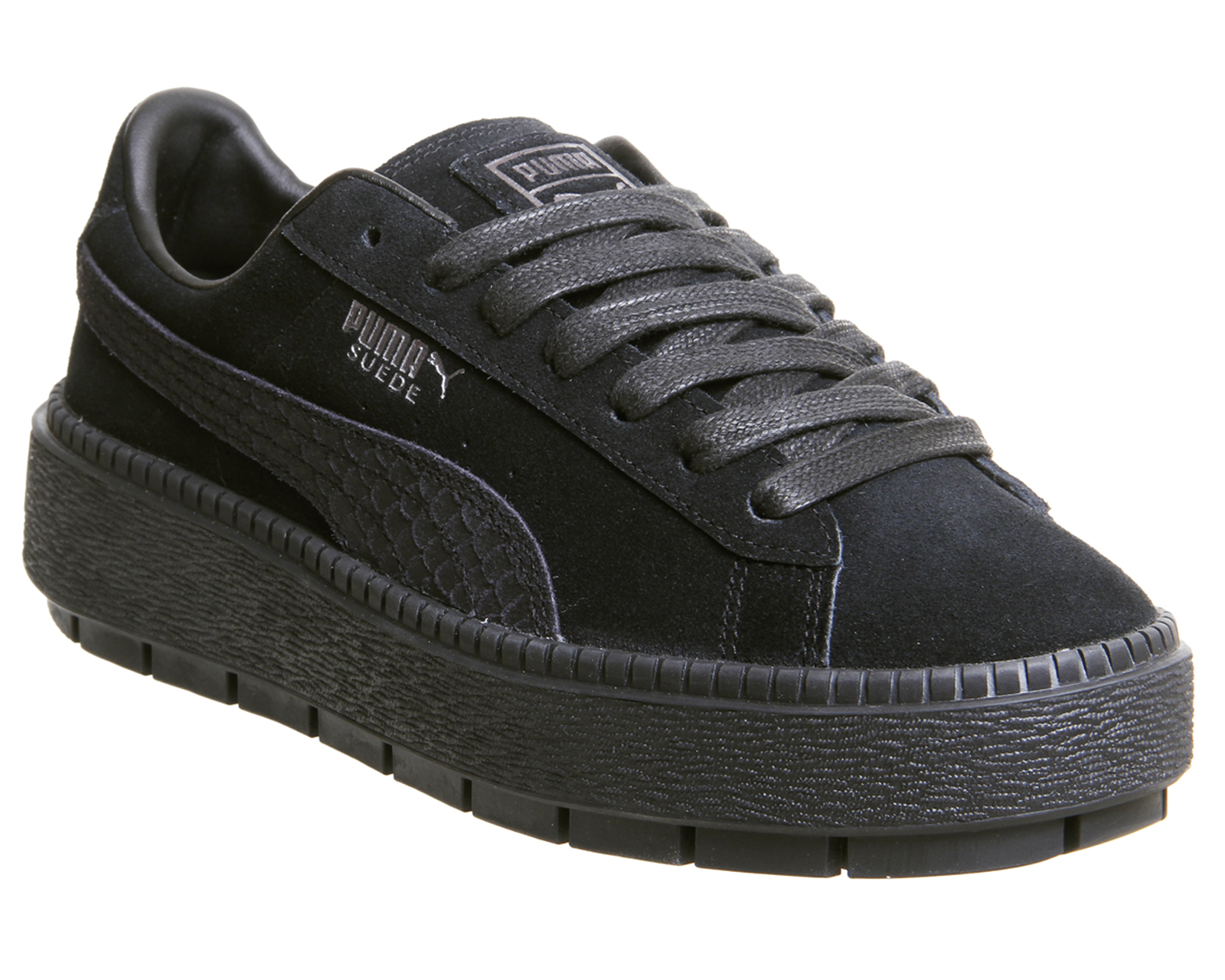 Womens Puma Suede Platform Trace Trainers BLACK Shoe AGED SILVER ANIMAL Trainers Shoe BLACK 0903a0