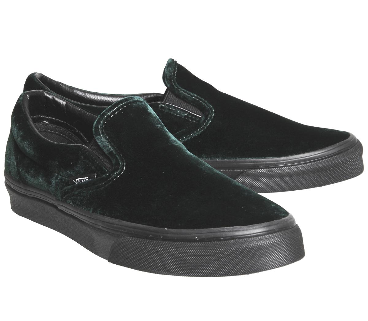69b052df2f2b Sentinel Mens Vans Vans Classic Slip On VELVET GREEN BLACK Trainers Shoes