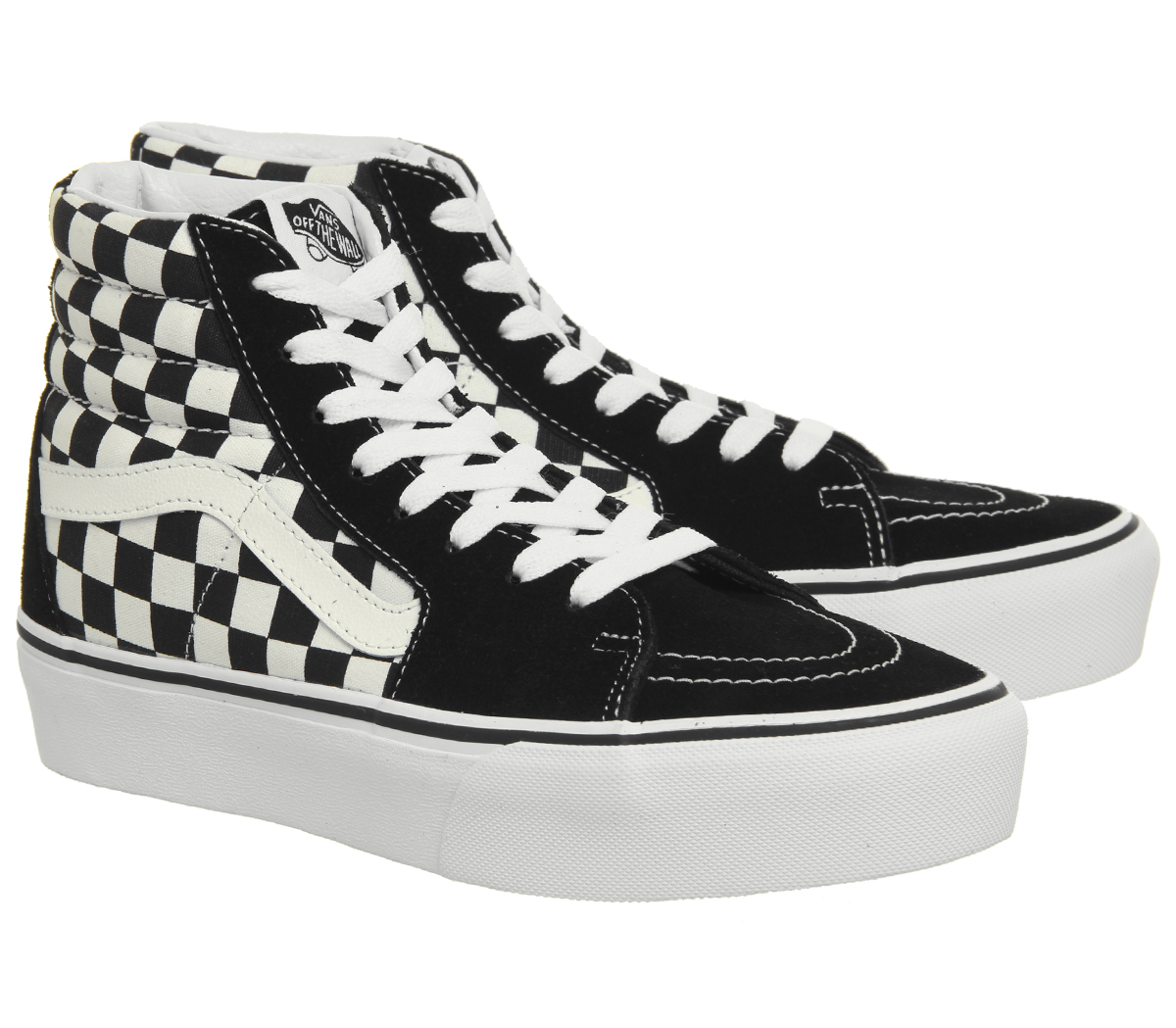 Womens Vans Sk8 Hi Platform 2.0 Trainers Black White Checkerboard ... e8fbe17f0