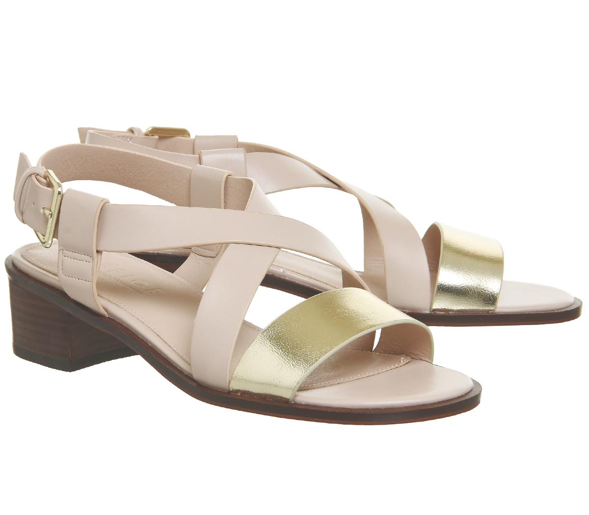 Womens Gold Heels Midtown Nude Block Office Sandals Heel rrYqPO