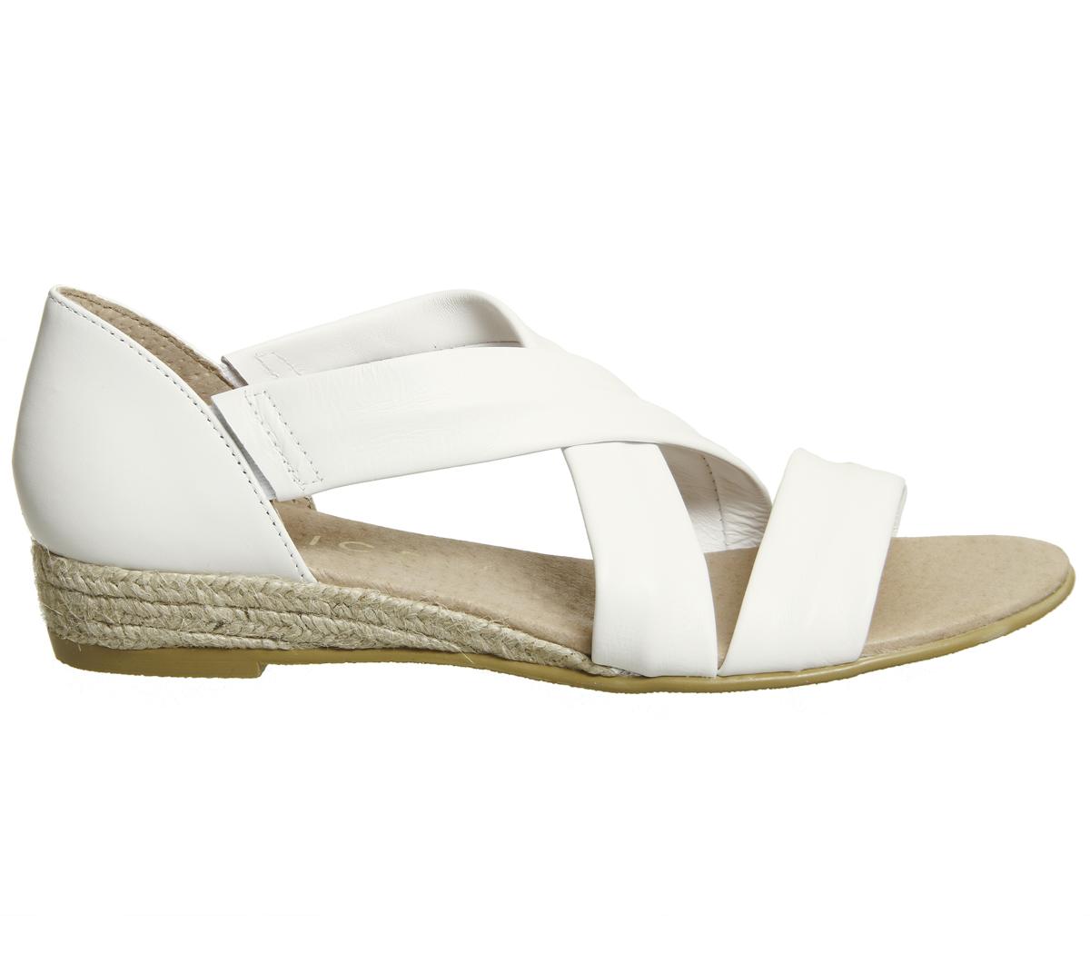 Último gran descuento Womens Office Hallie Cross Strap Espadrilles WHITE LEATHER Sandals