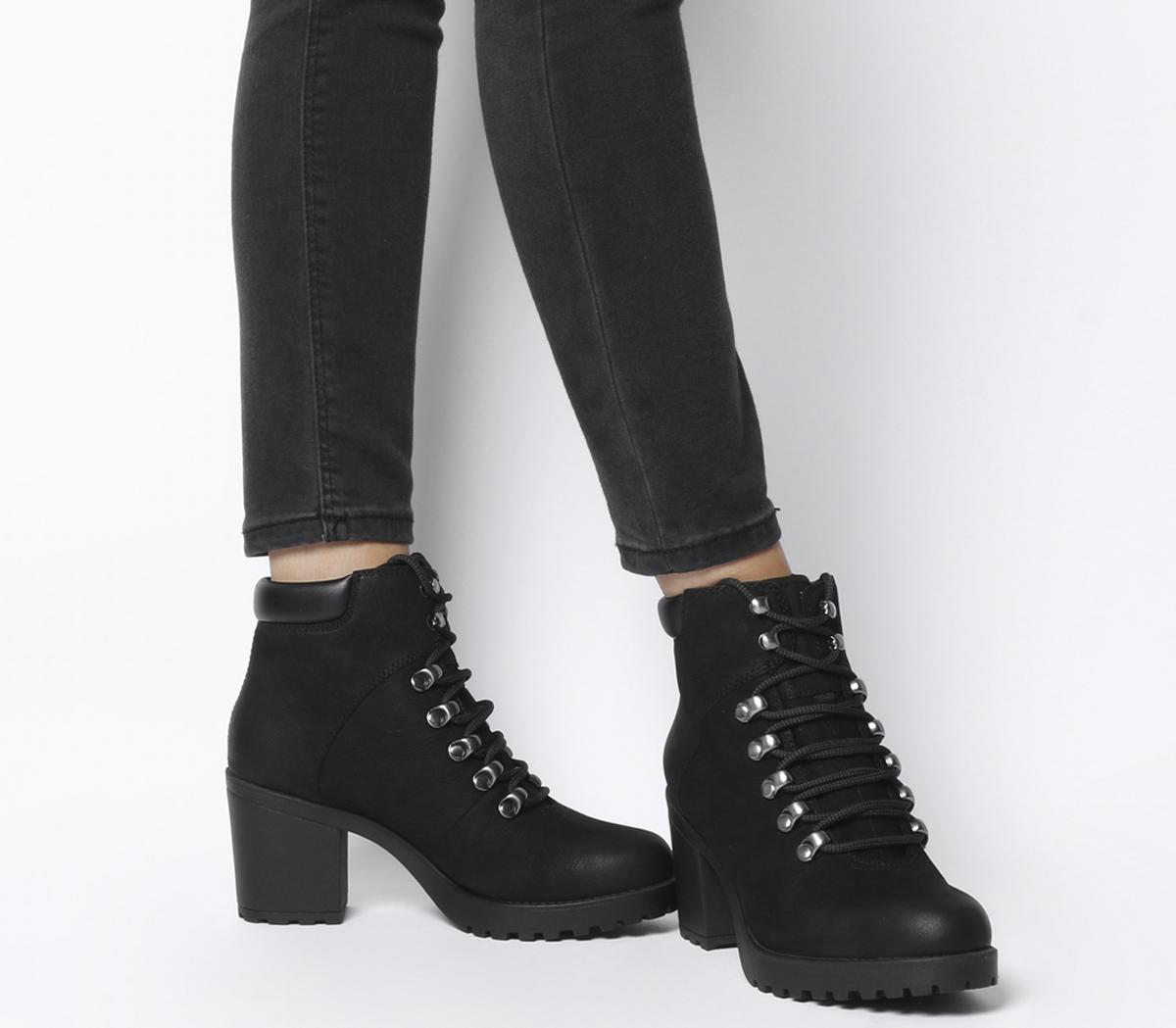 b0cf7e44aae4 Details about Womens Vagabond Grace Lace Heel Block Boots Black Nubuck Boots