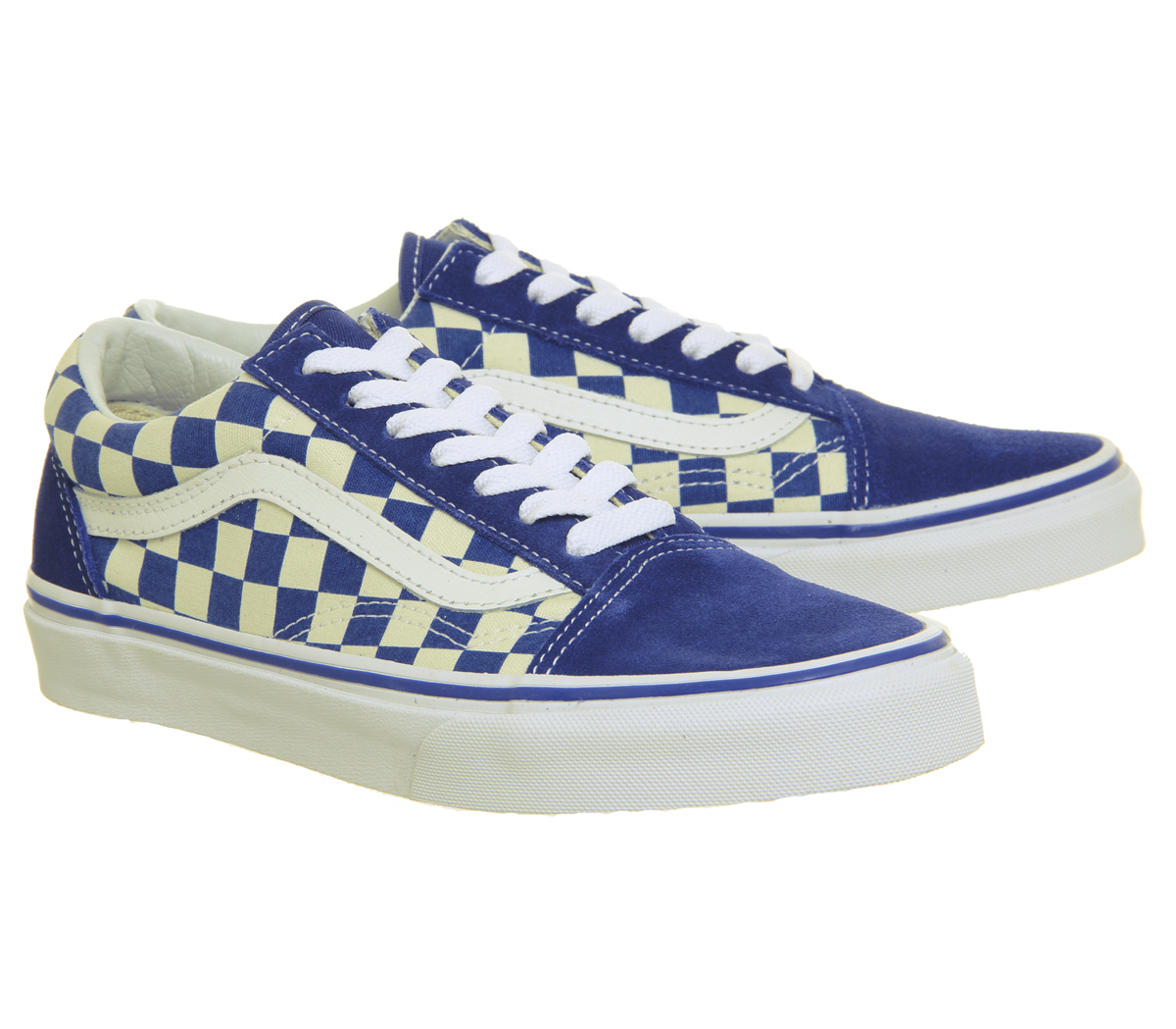 Mens Vans Old Skool Trainers TRUE Blau CLASSIC WEISS CHECKERBOARD Trainers Schuhes