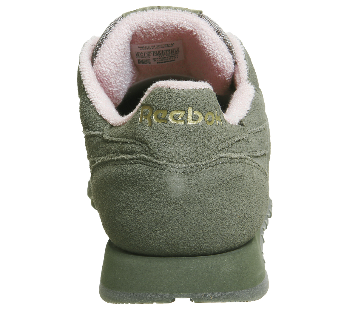 Womens Reebok Cl Leather Trainers Hunter Green Pink Trainers Shoes ... 1c7395503b16