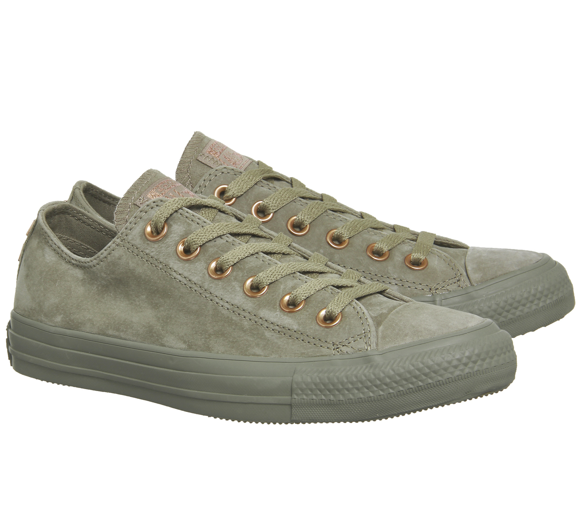 DONNA CONVERSE ALL STAR BASSA IN PELLE KHAKI BORCHIA ESCLUSIVO