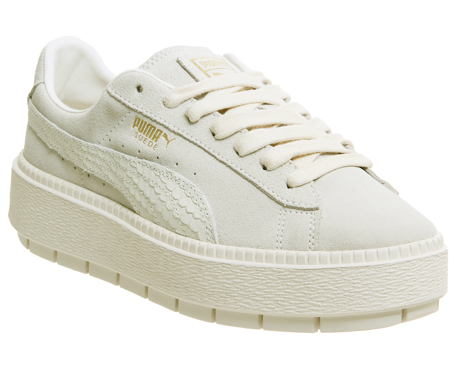 ef9a4169dfe Sentinel Womens Puma Suede Platform Trace Trainers Whisper White Gold  Animal Trainers Sho