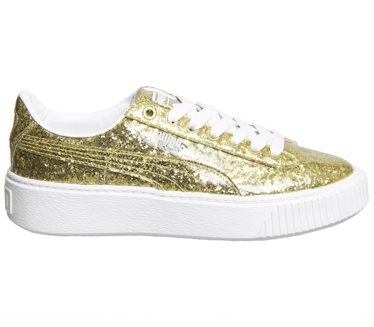 24ec8ec15ca6a Womens Puma Basket Platform Trainers Gold Glitter White Trainers ...
