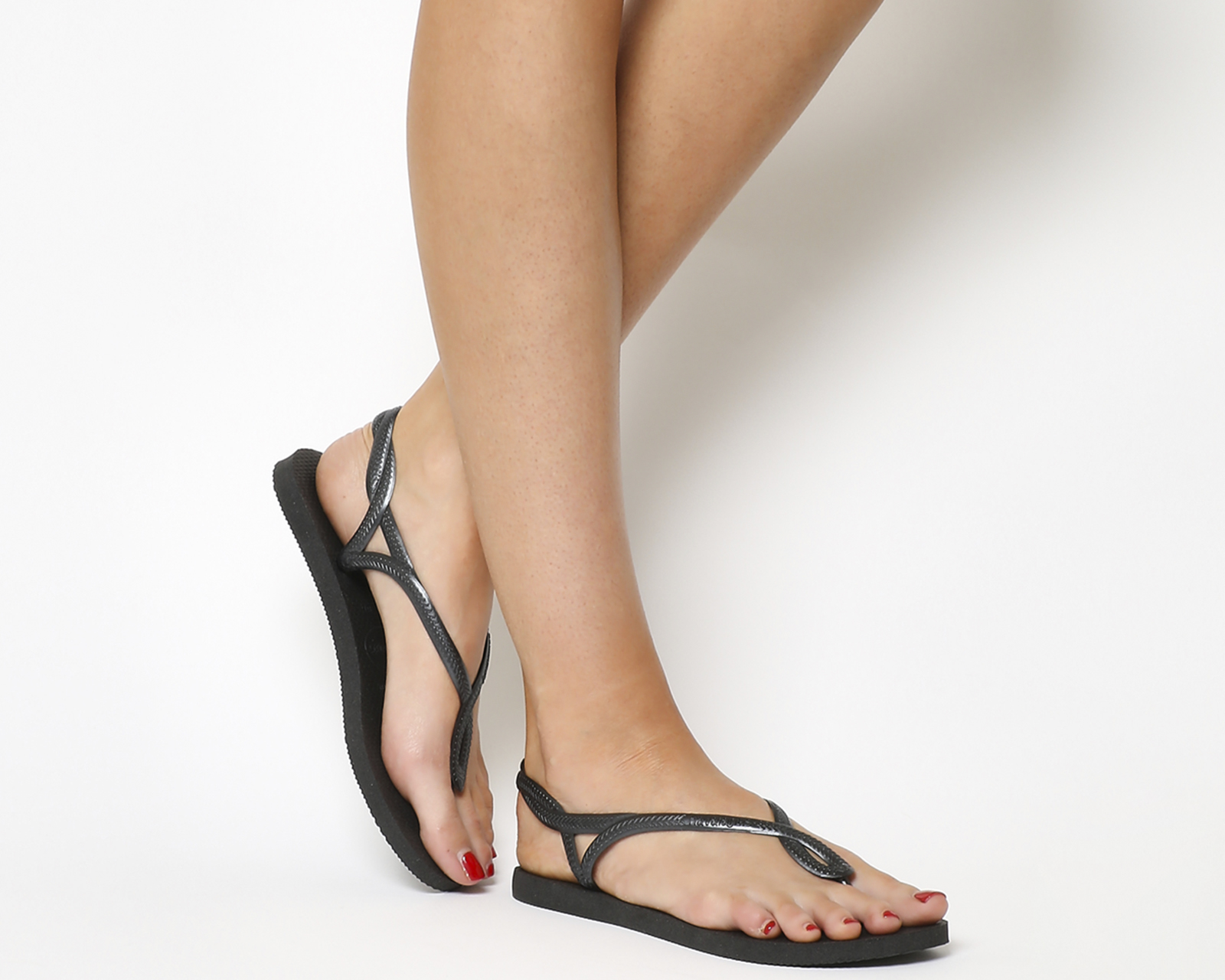 00630c5b144 Sentinel Womens Havaianas Luna Flip Flops Black Sandals