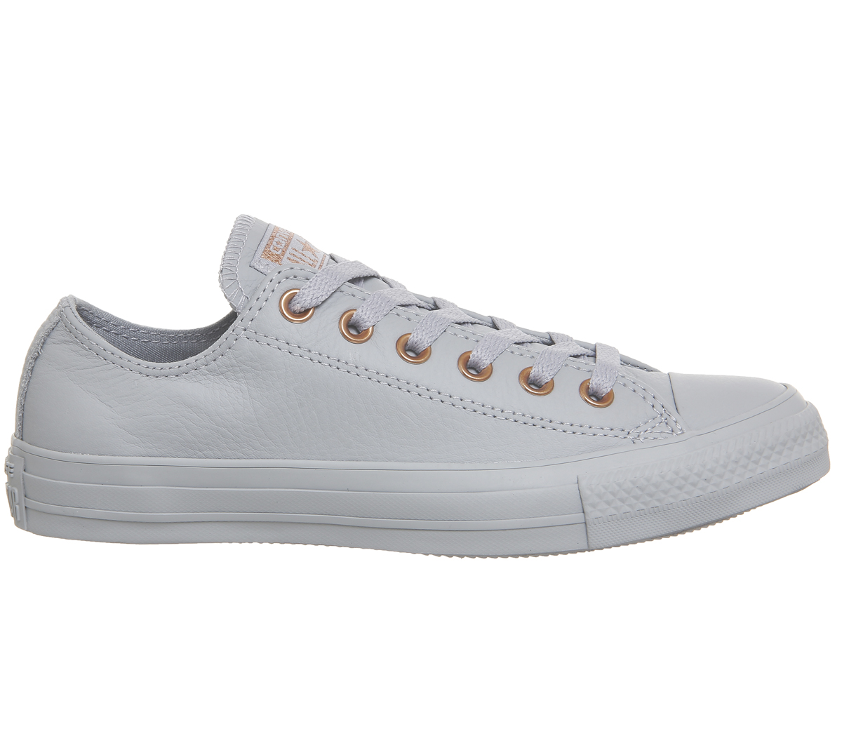 7702ce319bd4b0 Sentinel Womens Converse All Star Low Leather WOLF GREY BLUSH GOLD  EXCLUSIVE Trainers Sho