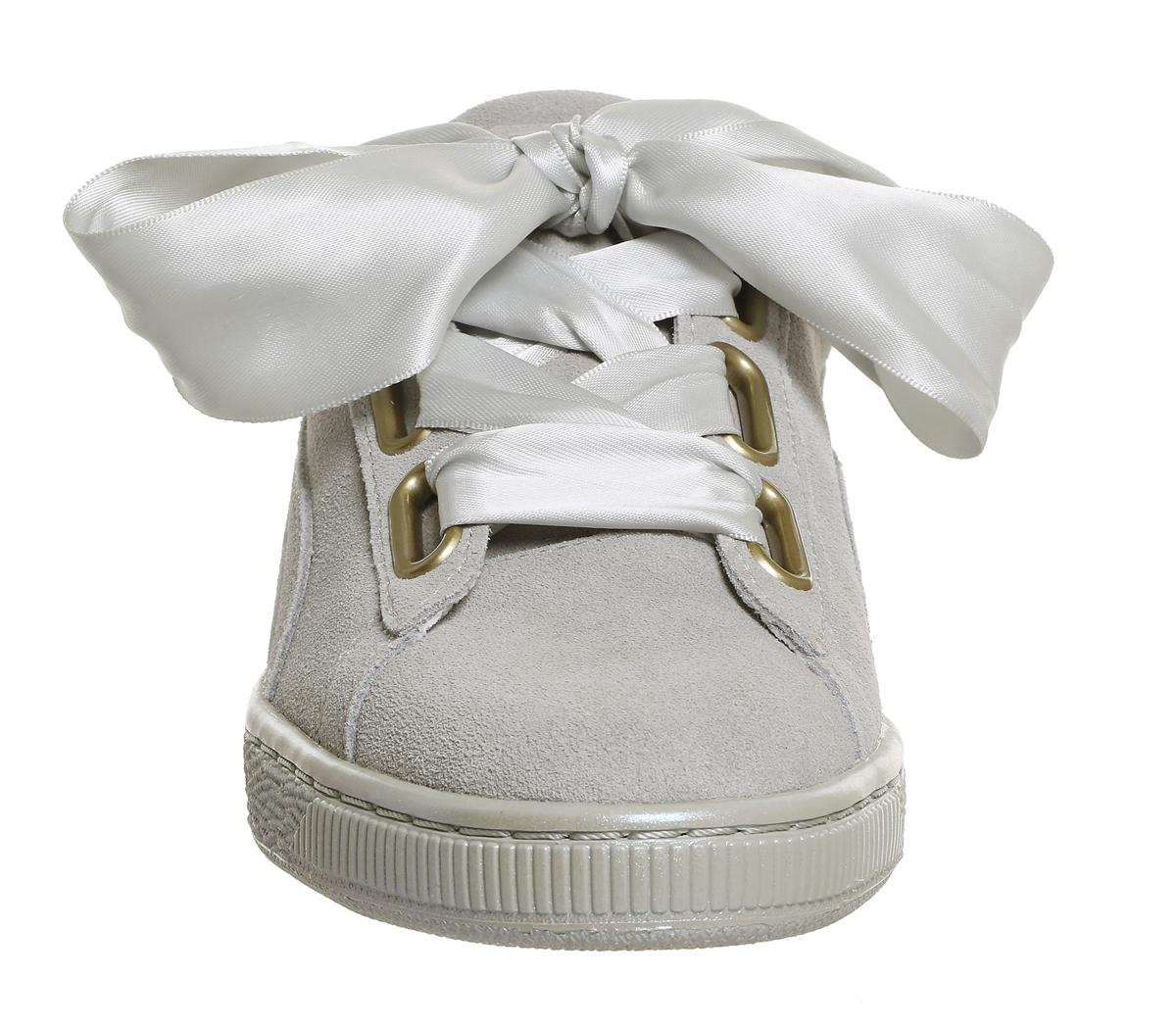 finest selection 88040 3f4dd Chaussures-Femme-Puma-Daim-Coeur-Gris-Violet-Satin-