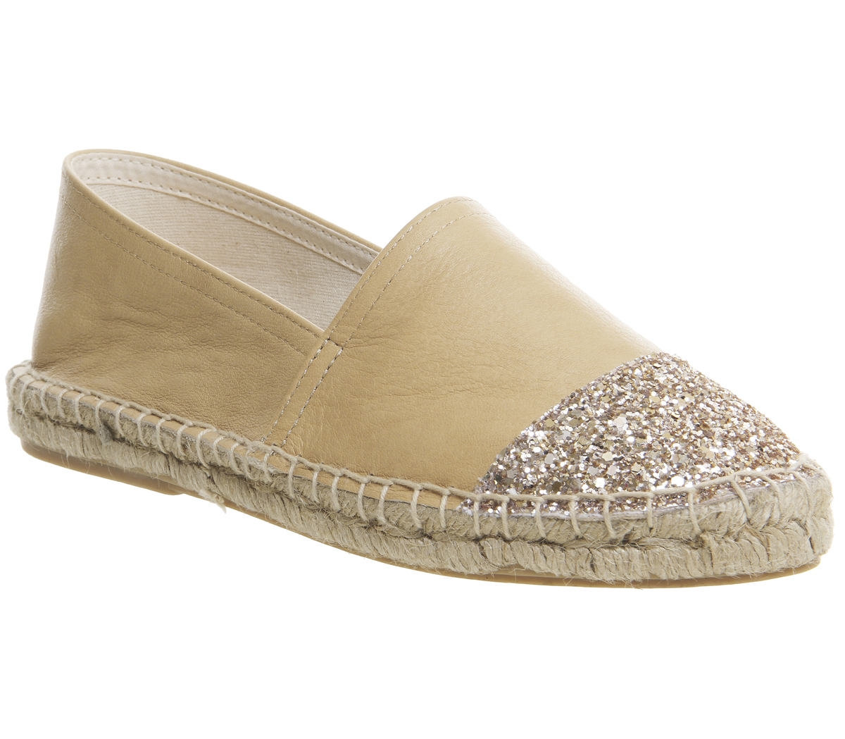 1157c49c4baed Womens Office Lucky Espadrilles With Toe Cap Nude Leather Rose Gold ...