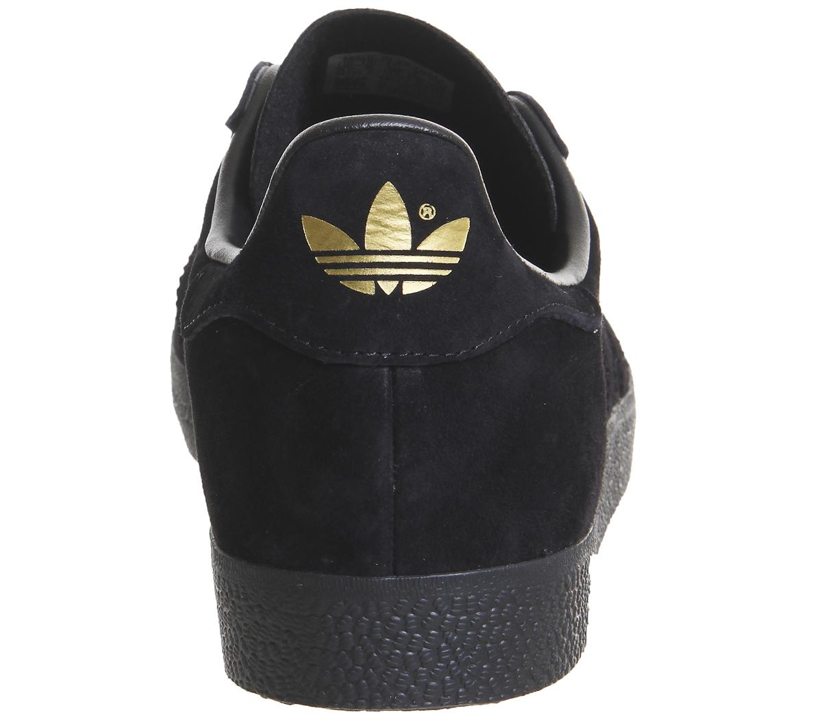 Adidas-Gazelle-Zapatillas-Negro-Oro-Exclusivo-ZAPATILLAS-DEPORTIVAS