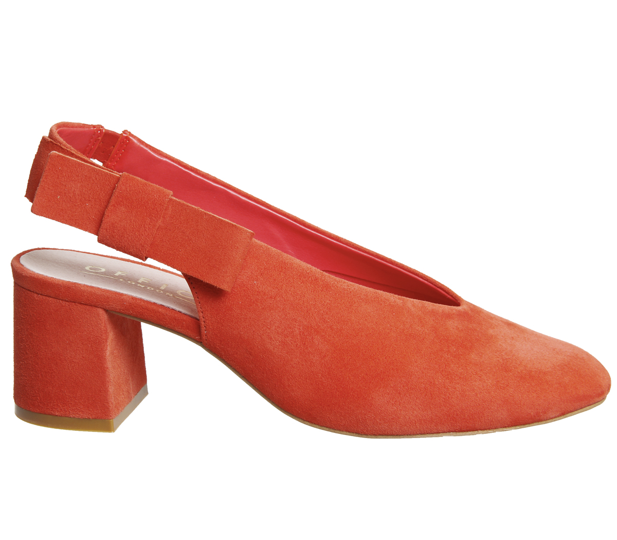 Womens-Office-Magical-Bow-Slingback-Heels-Red-Suede-Heels thumbnail 5