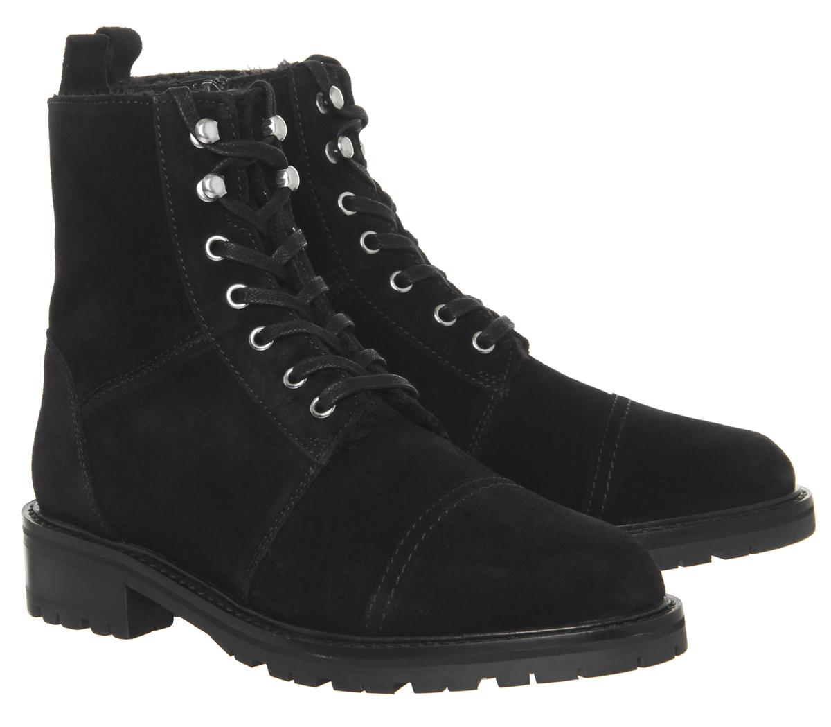 63533c63a71 CENTINELA Piel de armadura 2 mujeres oficina forrado encaje interior botas  de piel de ante negro de