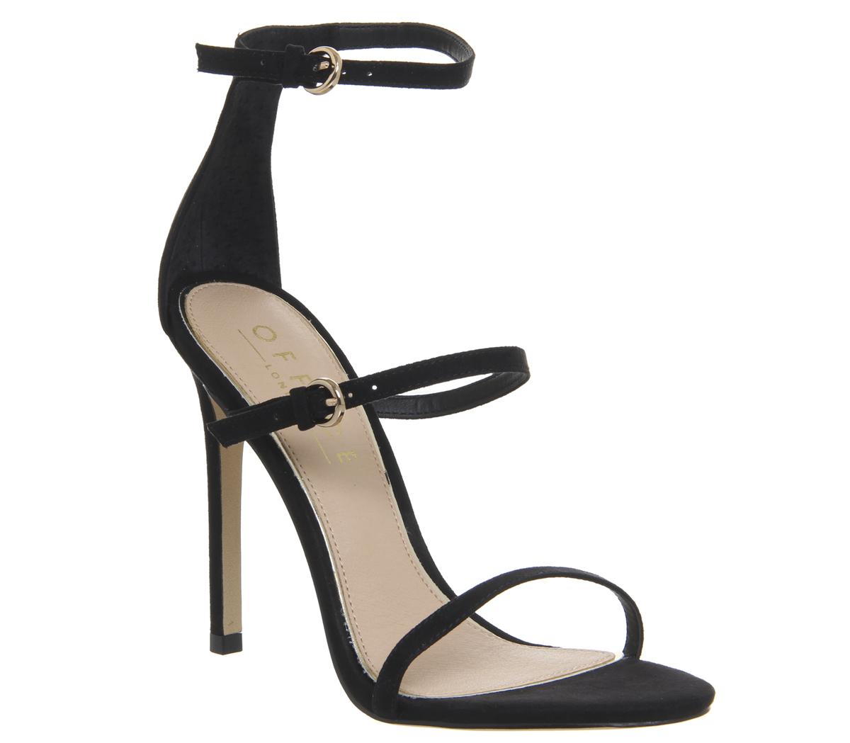 5c689102d74a Sentinel Womens Office Hush 3 Strap Single Sole Heels Black Heels