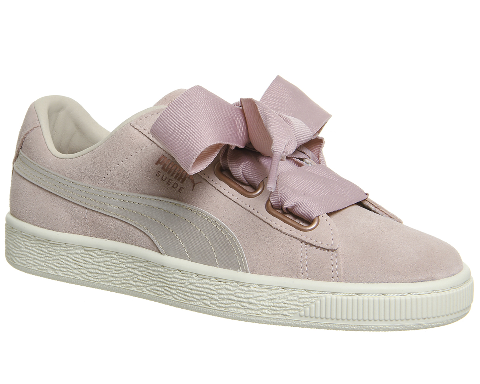 Details about Womens Puma Suede Heart Trainers Silver Pink Tint Rose Gold Trainers Shoes