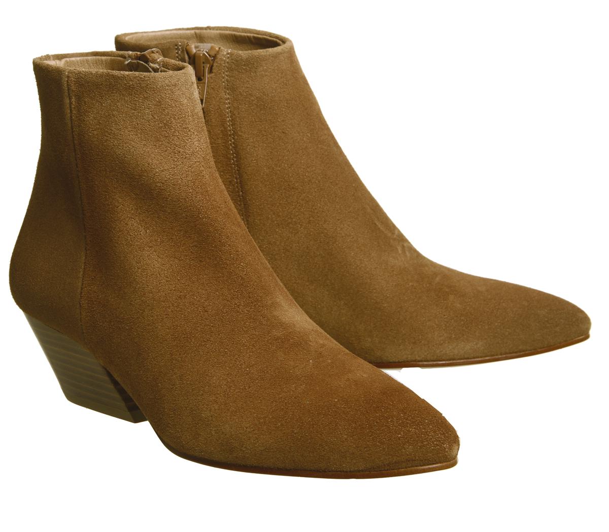 09ef04dedf Womens Office Atone Western Block Heel Boots Tan Suede Boots | eBay