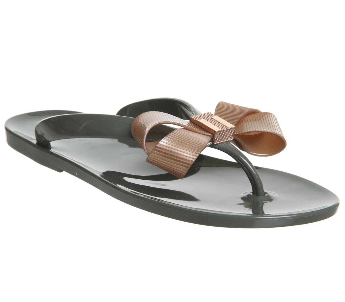 7e6b30b46 Sentinel Womens Ted Baker Suszie Flip Flops Khaki Rose Gold Sandals