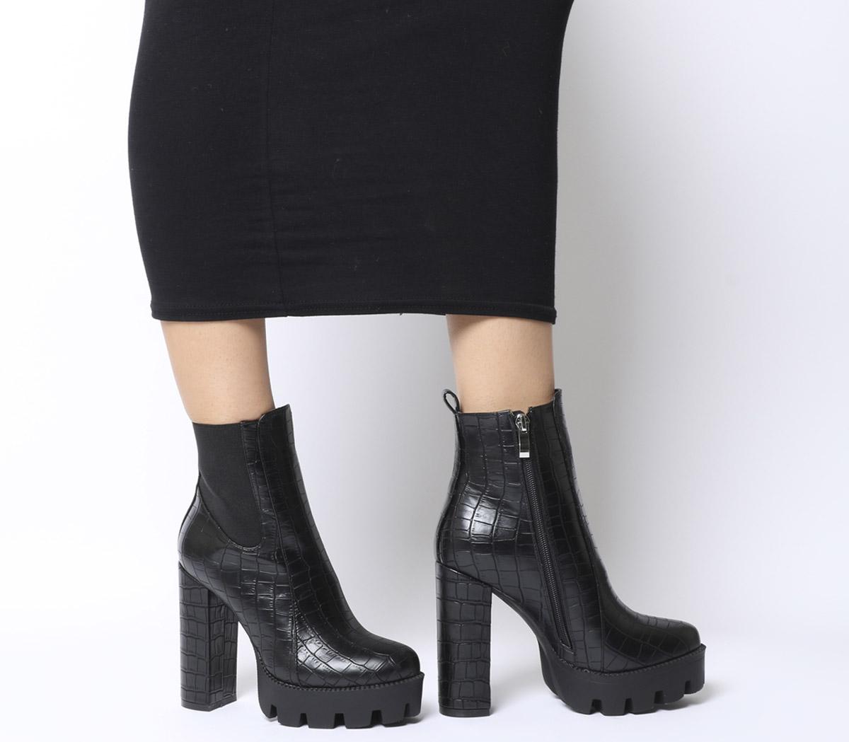 Los Angeles sortie de gros en vente en ligne Détails sur Femme EGO Atlas Bottines à talon noir croco boots- afficher le  titre d'origine