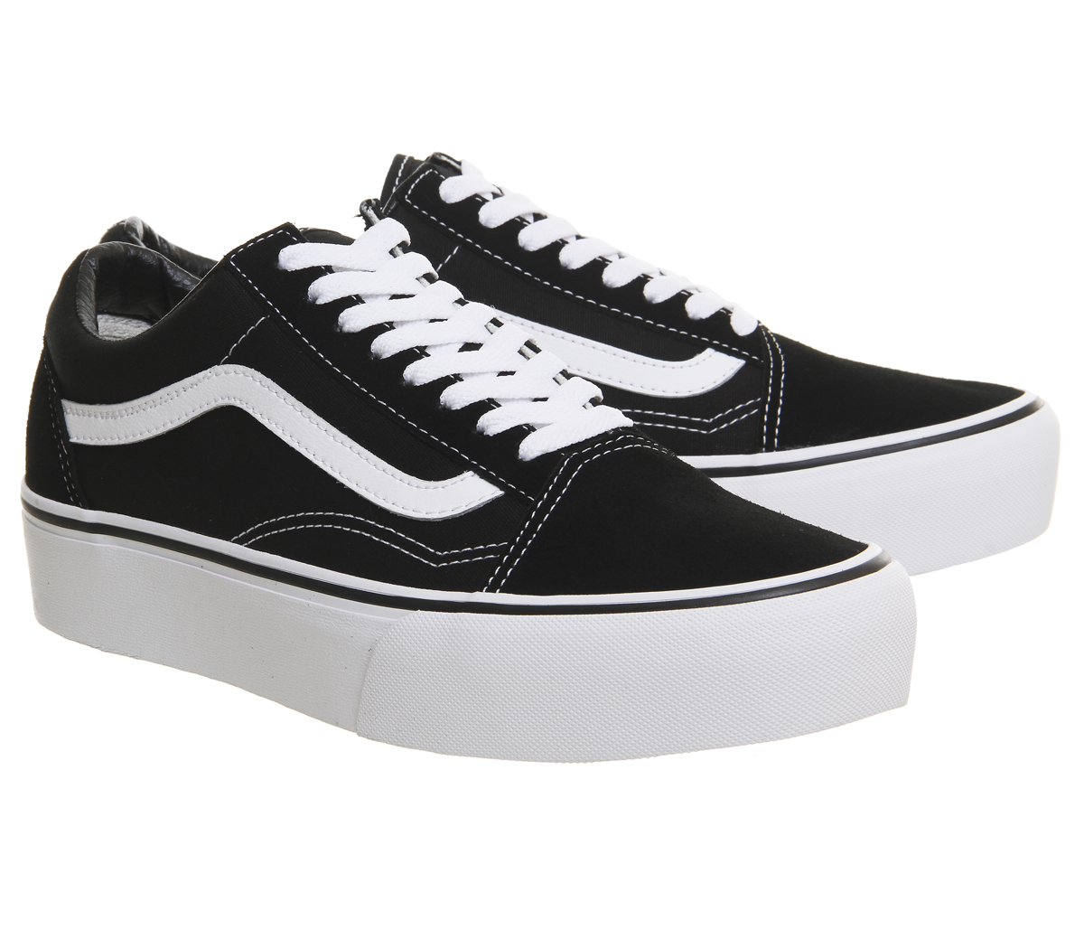 Details zu Womens Vans Old Skool Platform Black White Trainers Shoes