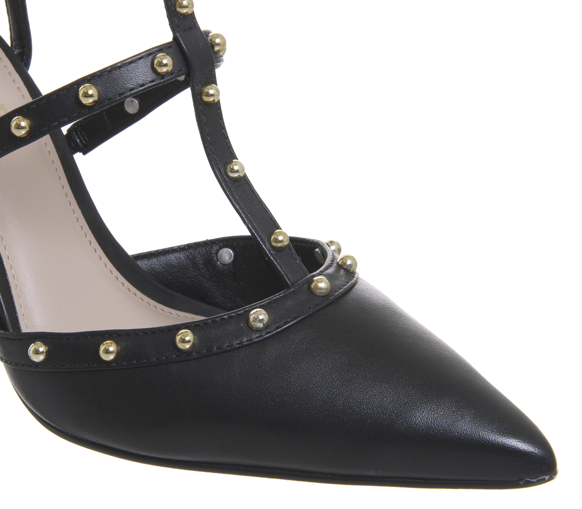 Donna Office Hey Hey T Bar LEATHER Point Court Heels BLACK LEATHER Bar WITH STUDS Heels 9fbf62