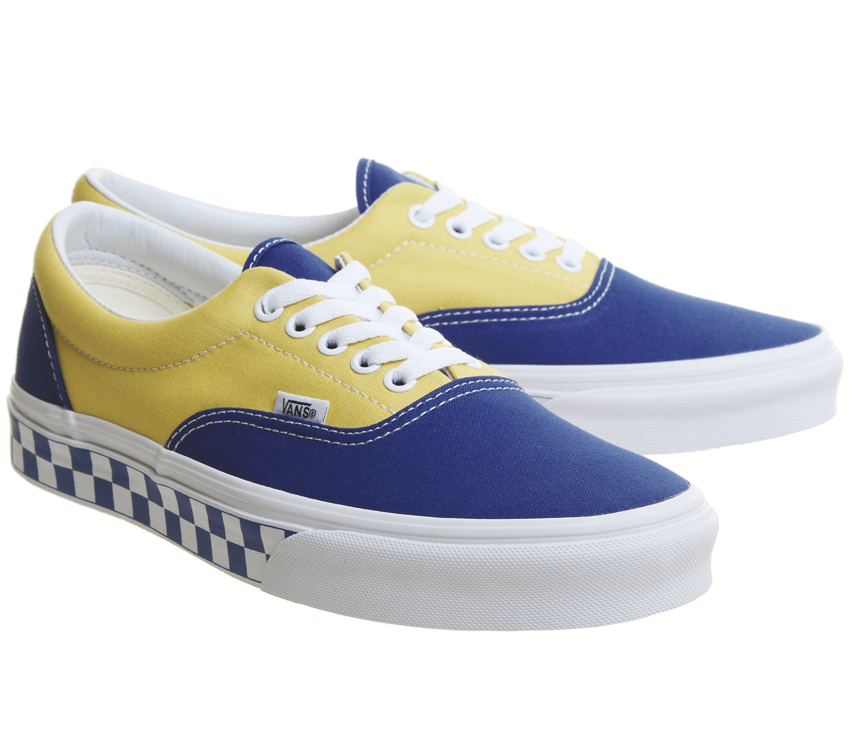 097870ee051 Vans Era Trainers True Blue Yellow Checkerboard Trainers Shoes