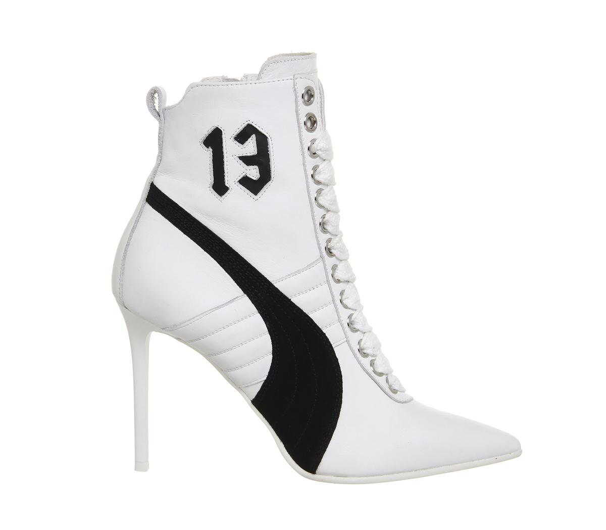 Damen Puma Hoher Absatz Leder Sneakers Weiß Leder Absatz Turnschuhe 0703e6